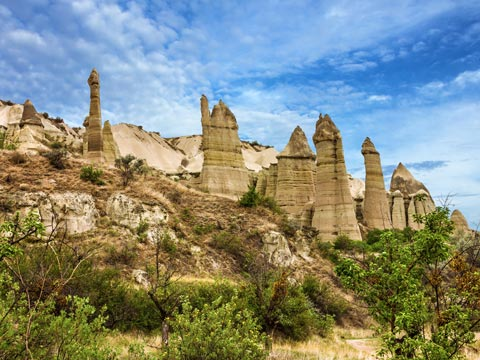 Wind carved rock formations of Cappadocia in central Turkey